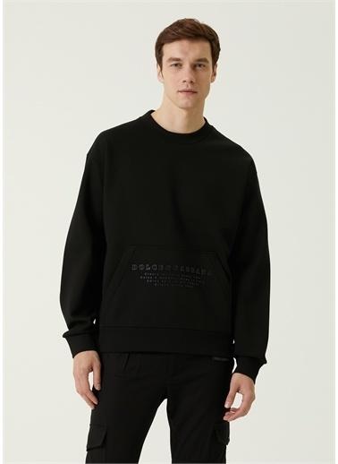 Dolce&Gabbana Dolce&Gabbana 101620222 Logo Baskılı Kanguru Cepli Bisiklet Yaka Erkek Sweatshirt Siyah